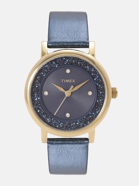 Timex Women Navy Blue Textured Analogue Watch TW2R93100