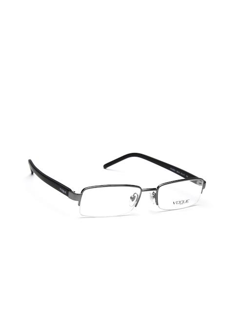 vogue Men Gunmetal-Toned & Black Rectangular Half-Rim Frames 0VO3838I548S53