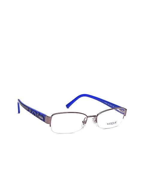 vogue Men Gunmetal-Toned & Blue Rectangular Half-Rim Frames 0VO3931I54853