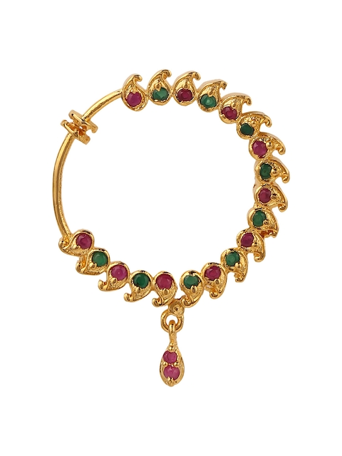 Yosshita & Neha Women Copper-Plated Gold-Polished & Red Stone-Studded Nose Ring