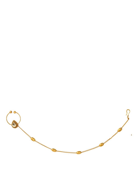Yosshita & Neha Women Copper-Plated Gold-Polished Nose Ring with Chain