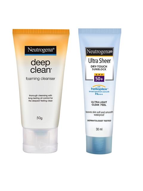 Neutrogena Set Of Deep Clean Foam Cleanser & Ultra Sheer Sunblock SPF50