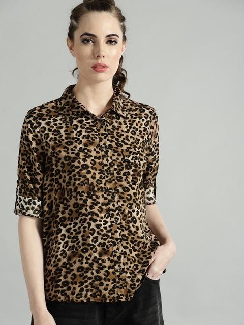 Roadster Women Beige & Black Regular Fit Animal Print Casual Shirt