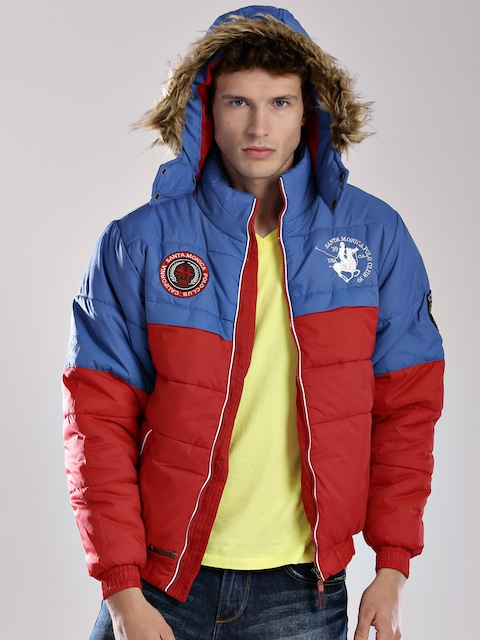 Santa Monica Blue & Red Bomber Jacket with Hood