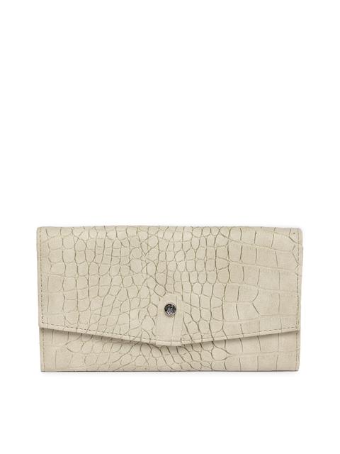 Baggit Women Beige Textured Two Fold Wallet