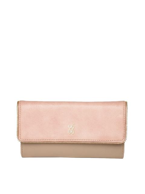 Baggit Women Beige & Pink Colourblocked Two Fold Wallet