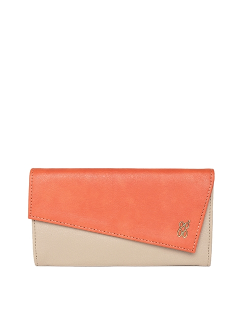 Baggit Women Beige & Orange Colourblocked Three Fold Wallet