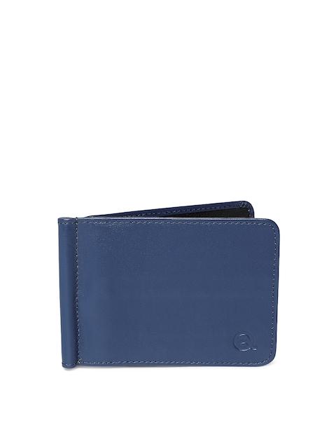 EVOQ Men Blue & Black Solid Genuine Leather Card Holder
