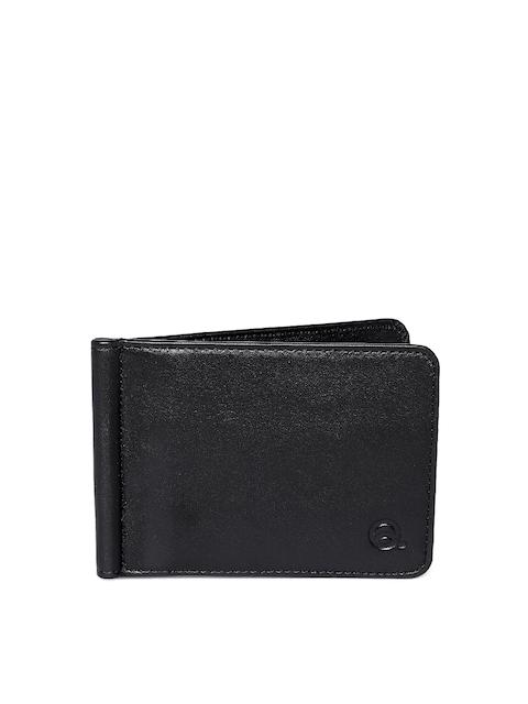 EVOQ Men Black Solid Genuine Leather Card Holder