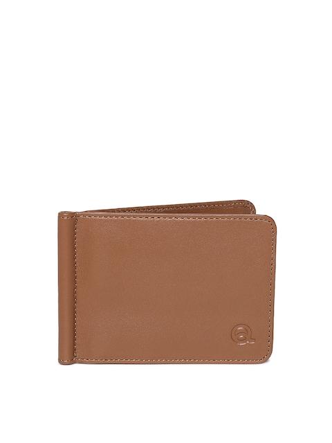 EVOQ Men Brown Solid Genuine Leather Card Holder