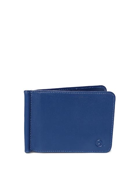 EVOQ Men Blue Solid Genuine Leather Card Holder