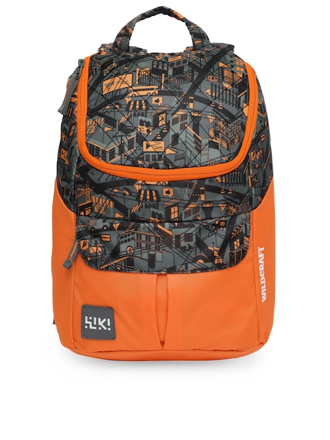 Wildcraft Unisex Orange & Black Trix18 Graphic Backpack