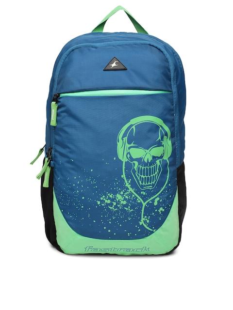 Fastrack Men Blue & Green Graphic Backpack