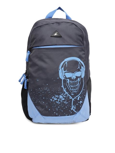 Fastrack Men Grey & Blue Graphic Backpack