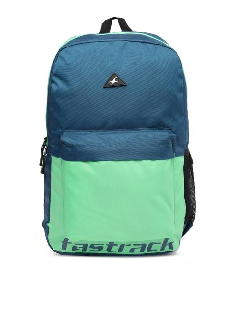 Fastrack Men Blue & Green Colourblocked Backpack