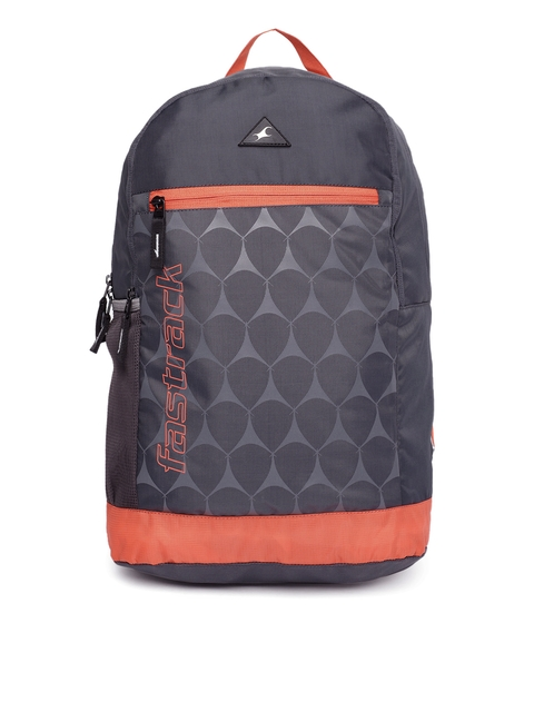 Fastrack Men Charcoal Grey & Orange Graphic Printed Backpack