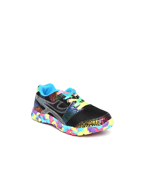 Kittens Girls Black Printed Casual Shoes