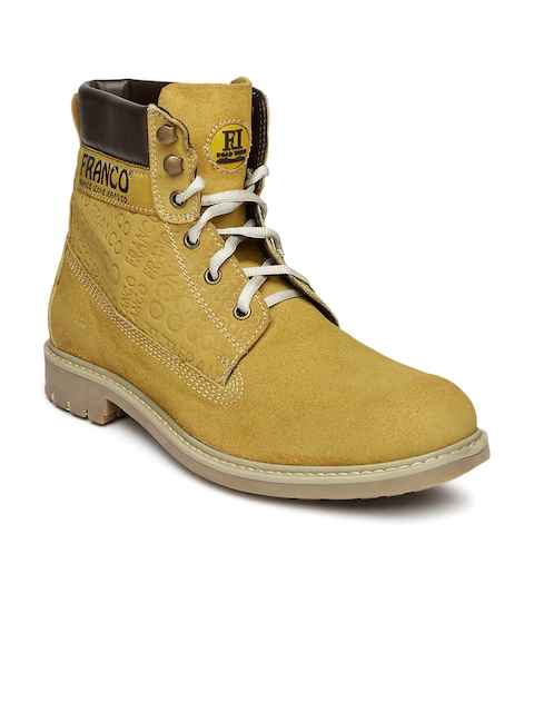 Franco Leone Men Mustard Yellow Suede Boots