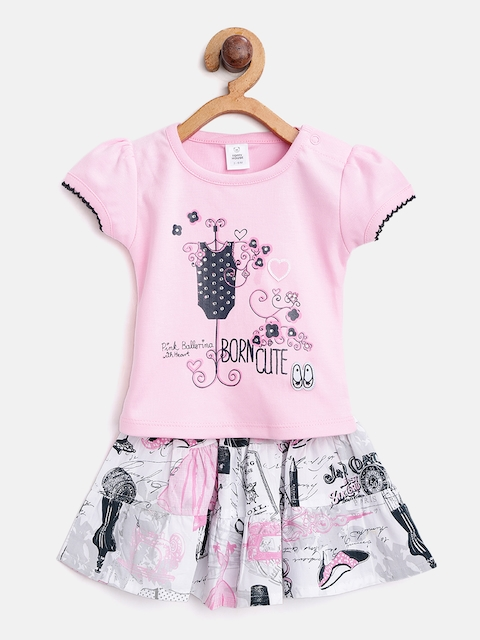 TOFFY HOUSE Girls Pink & White Printed Top with Skirt