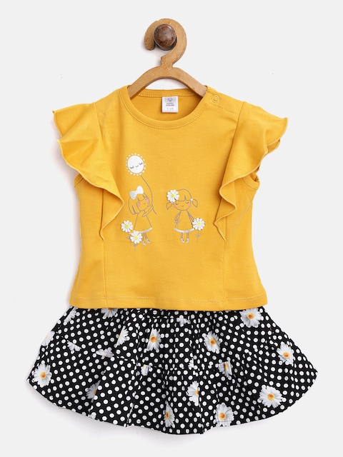 TOFFY HOUSE Girls Mustard Yellow & Black Printed Top with Skirt