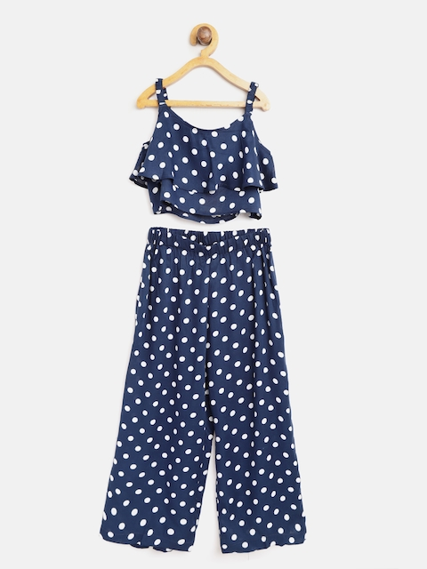 AWW HUNNIE Girls Navy Blue & White Printed Crop Top with Palazzos