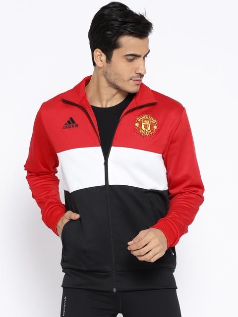 ADIDAS Men Black & Red Manchester United Football Club Colourblocked Sweatshirt