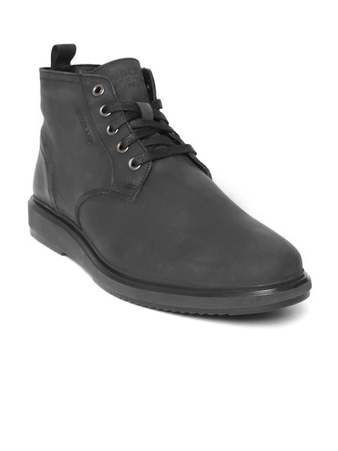 Woodland Men Black Solid Nubuck Mid-Top Flat Boots