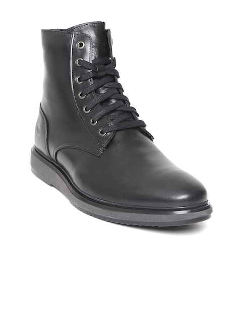 Woodland Men Black Solid Leather Mid-Top Flat Boots