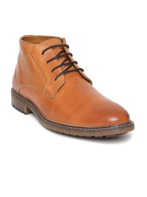 Woodland Men Tan Brown Solid Leather Mid-Top Smart Casual Derbys