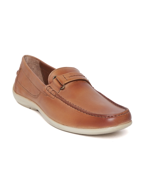 Woodland Men Tan Brown Solid Leather Driving Shoes