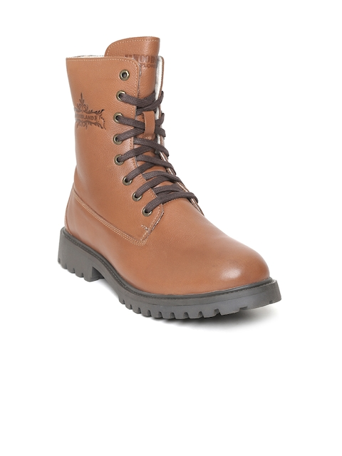 Woodland Men Tan Brown Solid Leather Mid-Top Flat Boots