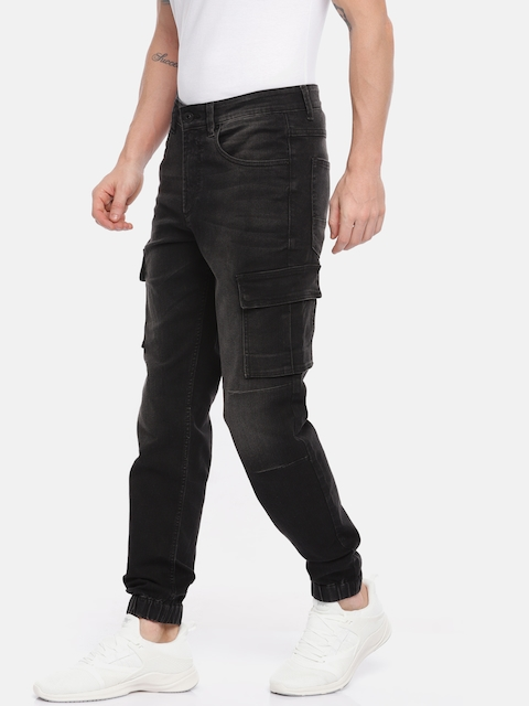 Mufti Men Black Slim Fit Mid-Rise Clean Look Stretchable Joggers