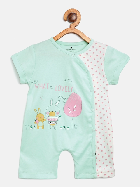 BRATS AND DOLLS Kids Green & White Printed Rompers