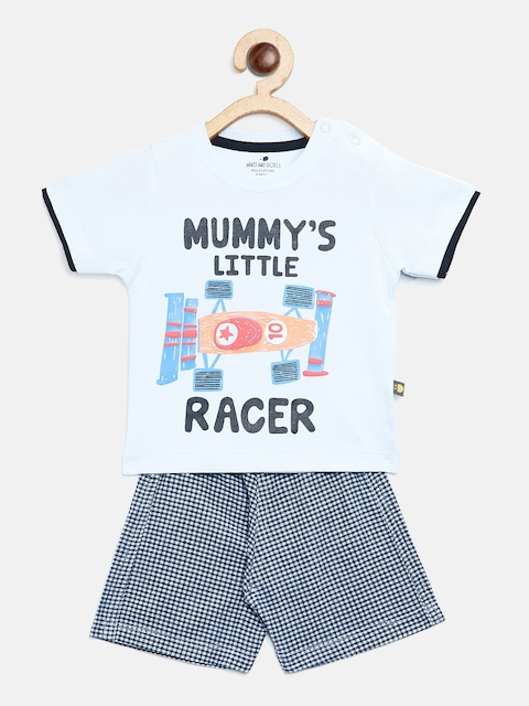 BRATS AND DOLLS Kids Blue Printed T-shirt with Shorts