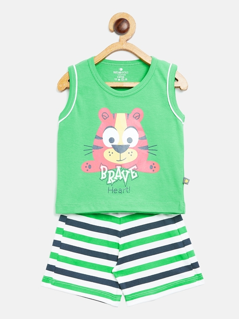 BRATS AND DOLLS Unisex Green & Navy Blue Printed T-shirt with Shorts