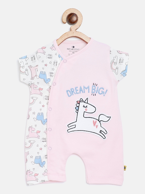 BRATS AND DOLLS Kids Pink & White Printed Rompers