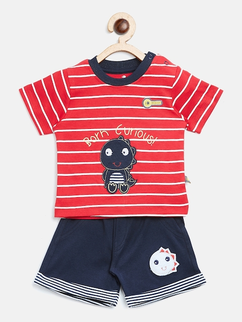 BRATS AND DOLLS Unisex Red & White Striped T-shirt with Shorts