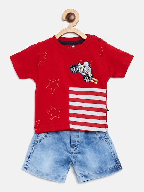 BRATS AND DOLLS Unisex Red & Blue Striped T-shirt with Shorts