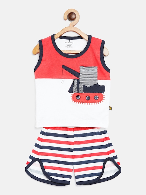 BRATS AND DOLLS Unisex White & Coral Orange Colourblocked T-shirt with Shorts