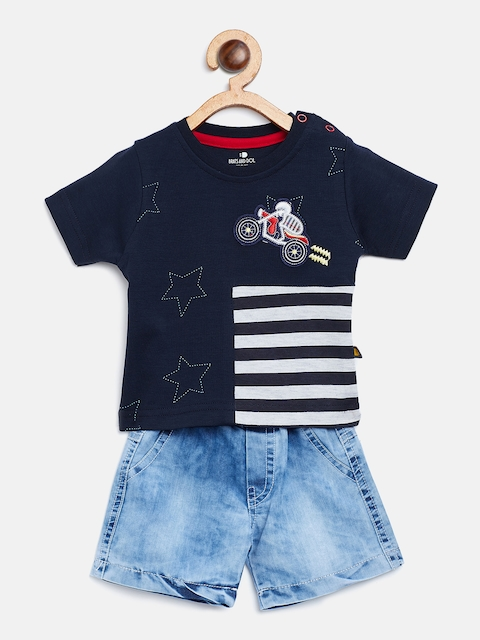 BRATS AND DOLLS Unisex Blue Striped T-shirt with Shorts