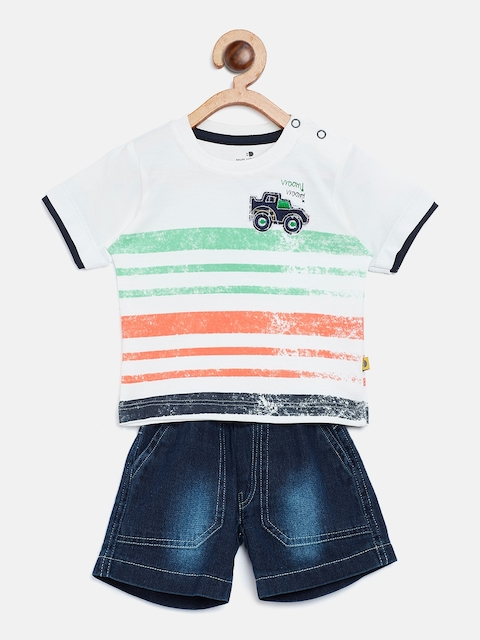 BRATS AND DOLLS Unisex White & Navy Striped T-shirt with Shorts