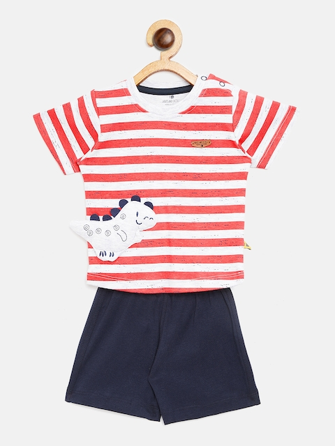BRATS AND DOLLS Unisex Red & Navy Striped T-shirt with Shorts