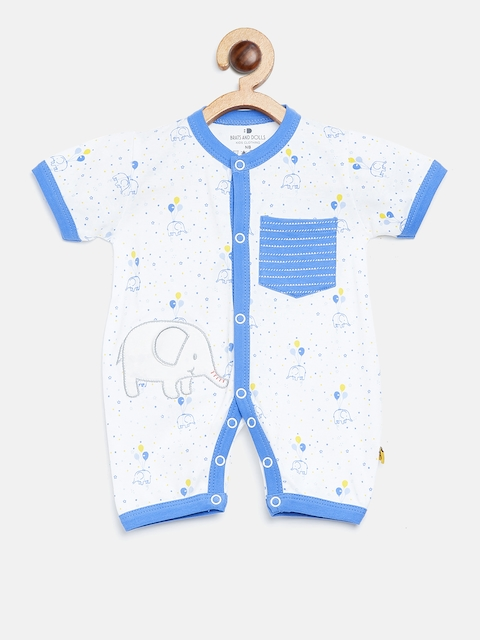 BRATS AND DOLLS Kids White & Blue Printed Rompers