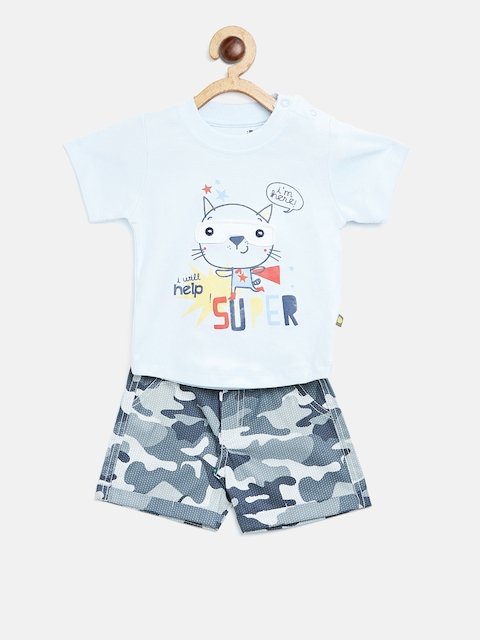 BRATS AND DOLLS Kids Blue & Grey Printed T-shirt with Shorts
