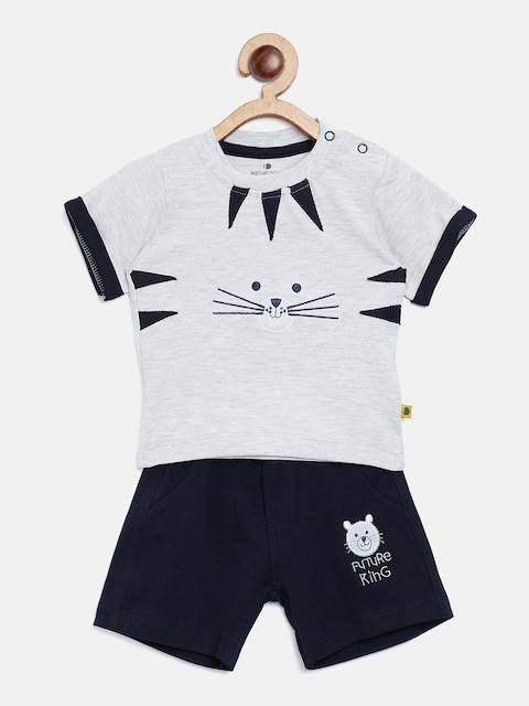 BRATS AND DOLLS Unisex Grey Melange & Navy Blue Printed T-shirt with Shorts