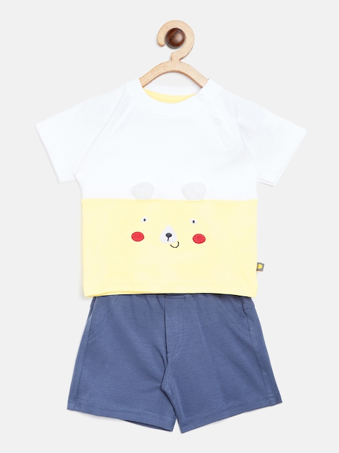 BRATS AND DOLLS Unisex White & Blue Colourblocked T-shirt with Shorts
