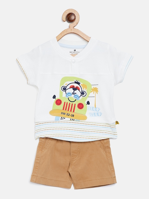 BRATS AND DOLLS Unisex White & Brown Printed T-shirt with Shorts
