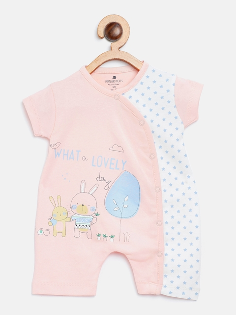 BRATS AND DOLLS Kids Peach-Coloured & White Printed Rompers