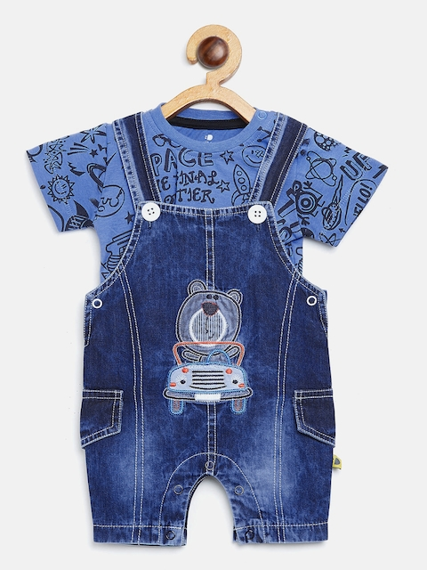BRATS AND DOLLS Kids Blue Printed T-shirt with Denim Rompers