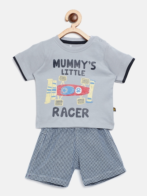 BRATS AND DOLLS Unisex Grey & Blue Printed T-shirt with Shorts